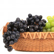 Black and green grapes in basket. — Stock Photo