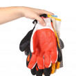 Rubber gloves on a hand. — Stock Photo