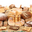 Composition of breads and wheat — Stock Photo