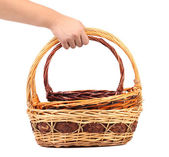 Hand holds two vintage weave wicker basket — Stock Photo
