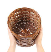 Hands hold vintage weave wicker basket — Stock Photo