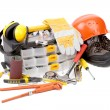 Stock Photo: Set of tools and instruments with toolbox.