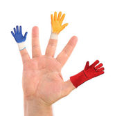 Hand with different gloves on fingers. — Stock Photo
