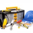 Set of tools and instruments with toolbox. — Stockfoto