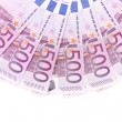 Five hundred Euro notes aligned in a fan. — Stock Photo
