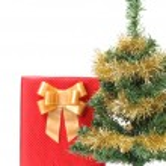 Christmas tree with present box — Stock Photo