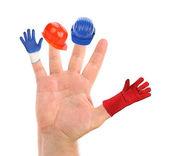 Verschillende kleine werk hulpmiddelen dragen de vingers — Stockfoto