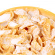 Close up of corn flakes with milk. — Stock Photo