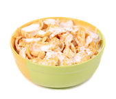 Bowl of sugar-coated corn flakes with milk. — Stock Photo