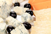 Blue cheese and olives. — Stock Photo