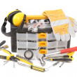Stock Photo: Plastic workbox with assorted tools.