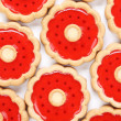 Lot of strawberry biscuits. — Stock Photo