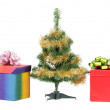 Christmas tree with two gift boxes. — Stock Photo
