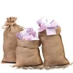Three full sacks of euro bills. — Stock Photo #37095745