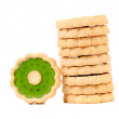 Stack of biscuits with kiwi jam. — Stock Photo