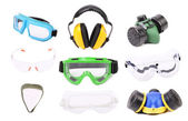Collage of gas mask earmuffs and glasses. — Stock Photo
