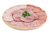 Chopped bacon and meat on plate. — Stock Photo