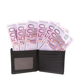 Wallet with five hundreds euro banknotes — Stock Photo