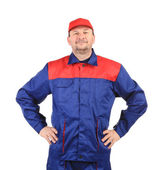 Worker inred-blue workwear. — Stock Photo
