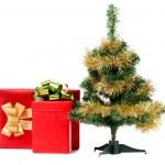 Christmas tree with present box. — Stock Photo