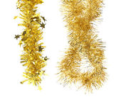 Golden tinsels. Christmas decoration. — Stock Photo