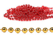 Bunch of red beads and golden row. — Stockfoto