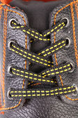 Shoelaces on boot close up. — Stock Photo