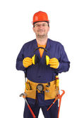 Confident worker in ear muffs and glasses. — Stock Photo
