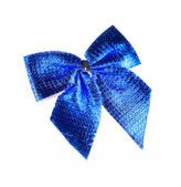 Blue bow made of ribbon. — Stock fotografie