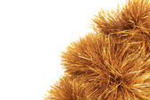Bunch of hristmas golden tinsel. — Stock Photo