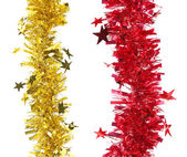 Christmas red and yellow tinsel. — Stock fotografie