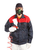 Worker in process with spray — Stock Photo