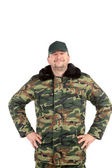 Man in military vest — Stock Photo