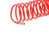 Red air hose. Close up. — Stock Photo