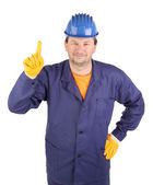 Worker shows hand attracting attention — Stock Photo
