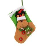 Decorative christmas green sock — Stock Photo