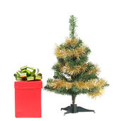 Christmas tree with present box — Stock Photo