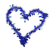 Christmas blue tinsel in form of heart — Стоковое фото