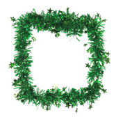 Green tinsel as a frame — Stock Photo