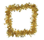 Golden tinsel as a frame — Stock Photo