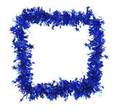 Christmas blue tinsel with stars as frame — Foto de Stock