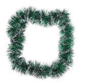Christmas green tinsel as frame — Stock Photo