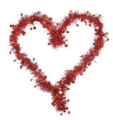 Christmas red tinsel with stars as heart — Foto de Stock