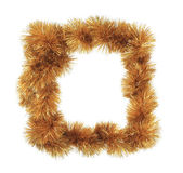 Christmas golden tinsel as frame — Стоковое фото