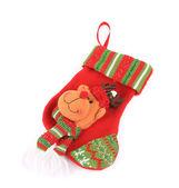 Decorative christmas sock with deer — Stock Photo