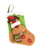 Decorative christmas sock with deer — Photo