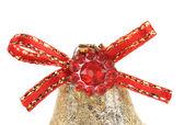 Red ribbon on Christmas kingle bell — Stock Photo