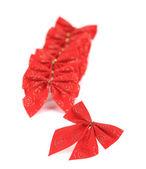 Festive archet rouge fait de ruban — Photo