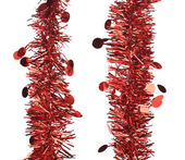 Two parallel red tinsel — Stock Photo