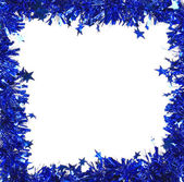Christmas blue tinsel — Stock Photo